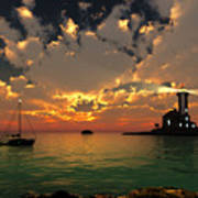 Sunset Lighthouse Poster by Jim Coe