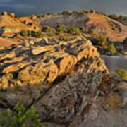 Sunset On Boulders Of Bentonite Site On Little Park Road Poster