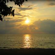 Sunset On Lake Michigan Poster by Trina Prenzi