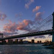 Sunset On Manhattan Bridge Poster by Dick Wood