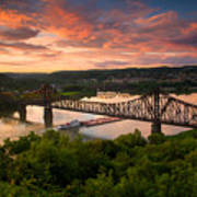 Sunset On Ohio River  Poster