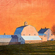 Sunset On Otisfield Barn Poster