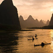 Sunset On The Li River Poster
