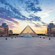 Sunset On The Louvre Poster