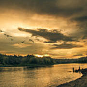 Sunset On The Willamette River Poster