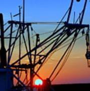 Sunset On Trawler Poster