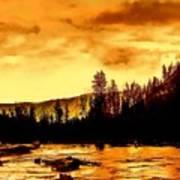 Sunset At  Yellowstone Lake Poster
