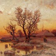 Sunset Over A Ukrainian Hamlet Poster