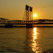 Sunset Over Columbia Crossing I-5 Bridge Poster