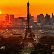 Sunset Over Eiffel Tower Poster