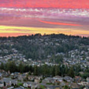 Sunset Over Happy Valley Residential Neighborhood Poster