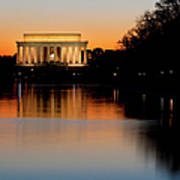 Sunset Over Lincoln Memorial Poster