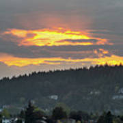 Sunset Over Mount Talbert In Happy Valley Poster