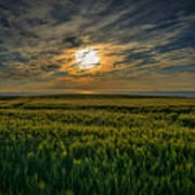 Sunset Over North Pas De Calais In France Poster