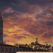 Sunset Over Port Of San Francisco Ferry Building Poster