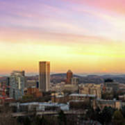 Sunset Over Portland Cityscape And Mt Hood Poster