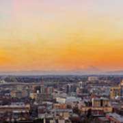 Sunset Over Portland Cityscape And Mt Saint Helens Poster