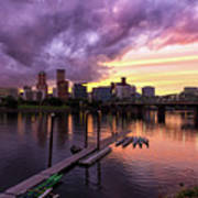 Sunset Over Portland Oregon Downtown Waterfront Poster