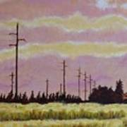 Sunset Over Powerlines Poster