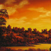 Sunset Over River Poster