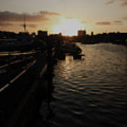 Sunset Over Sutton Harbour Plymouth Poster
