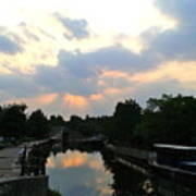 Sunset Over The Canal At Ladbroke Grove. Poster