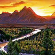 Sunset Over The Grand Tetons Poster