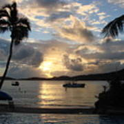 Sunset Over The Inifinity Pool At Frenchman's Cove In St. Thomas Poster