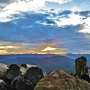Sunset Over The Mountain Range Poster