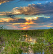 Sunset Over The River Of Grass Poster