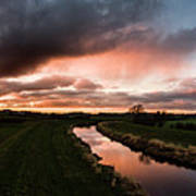 Sunset Over The River Wyre Poster