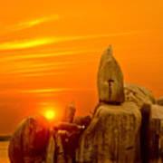Bismarck Rock At Sunset Poster