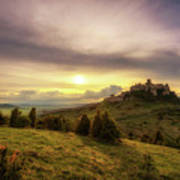 Sunset Over The Ruins Of Spis Castle In Slovakia Poster