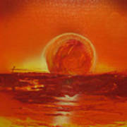 Sunset Over Troubled Waters Poster