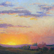 Sunset Over Tuscany Poster