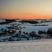 Sunset Over Winter Landscape Poster