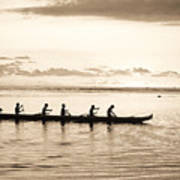 Sunset Paddlers - Sepia Poster