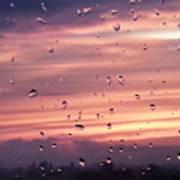 Sunset Raindrops Poster