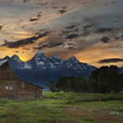 Moulton Barn Sunset Grand Teton National Park Poster