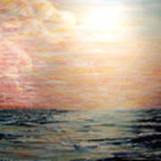 Sunset Right In The Middle Of An Ocean Poster