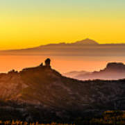 Sunset Roque Nublo Poster