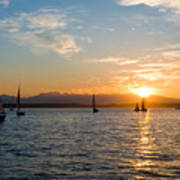 Sunset Sailboats Poster