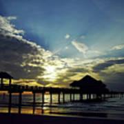 Sunset Silhouette Pier 60 Poster