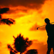 Sunset Silhouetted Golfer Poster