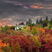 Sunset Sky Over Farm House In Rural Oregon Poster