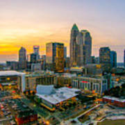 Sunset Sunrise Over Charlotte Skyline North Carolina Poster