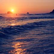 Sunset Swimmer At Zipolite Poster