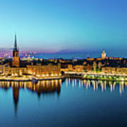 Sunset To Blue Hour Panorama Over Gamla Stan In Stockholm Poster