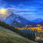 Supermoon Rising Over Mount Rundle Poster