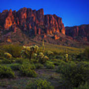 Superstition Mountain Sunset Poster